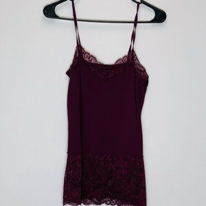 WHBM Solid purple Lace Cami adjustable strap top